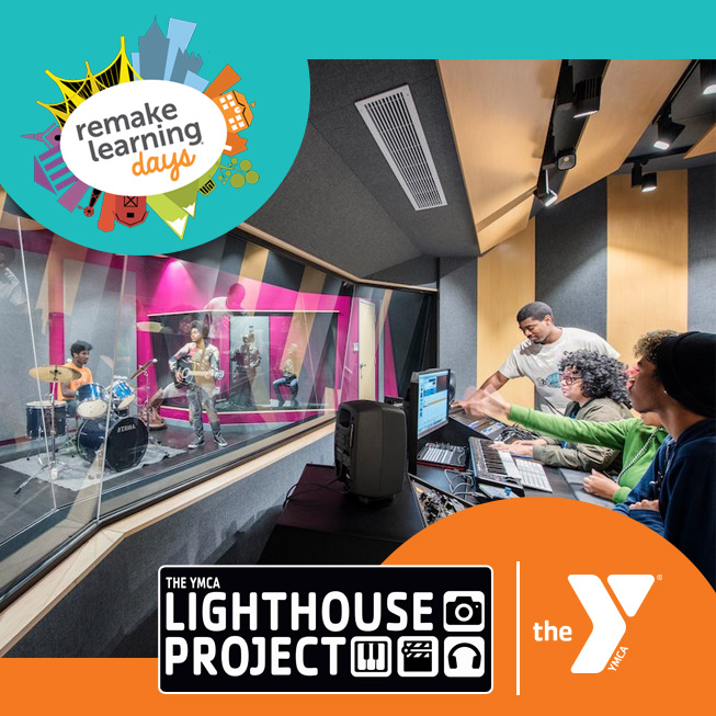 YMCA Lighthouse music studio photo with Remake Learning Days, LIghthouse Project and YMCA logos